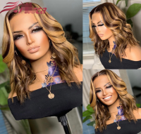 Glueless 5×5 Closure wig,highlight color ,wavy bob,14inch