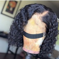 short curl lace front wig with elastic band, natural color human hair,can color, straighten or curl