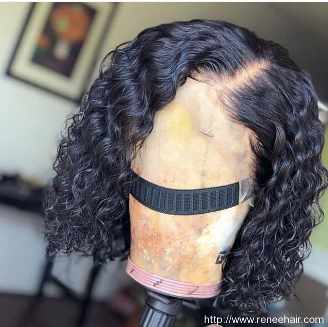 Short Curl Lace Front Wig With Elastic Band Natural Color Human Hair Can Color Straighten Or Curl Reneehair Com