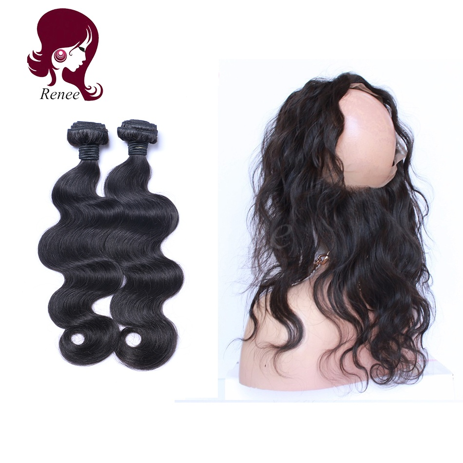 360 lace frontal with 2 bundles body wave brazilian virgin hair