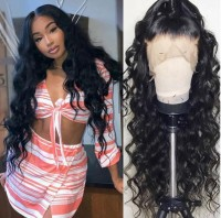 loose wave  Human Hair Wigs With Baby Hair Brazilian Remy Hair Wigs For Black Women Pre-Plucked Bleached Knots
