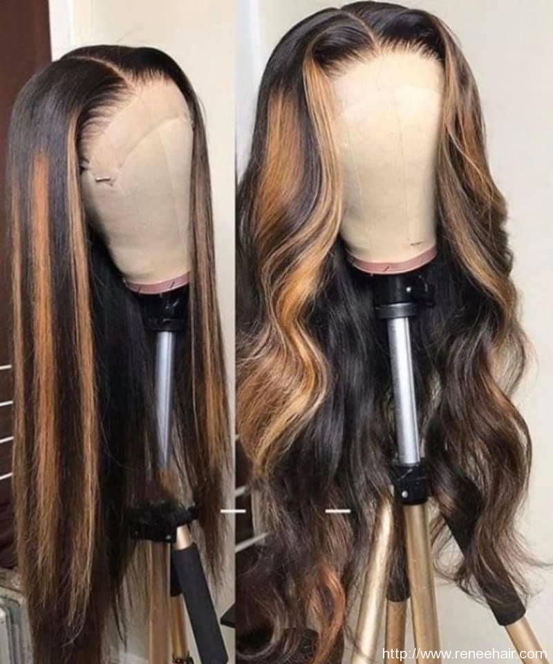Highlight Blonde Color Straight Remy Hair Brazilian Human Hair Wigs Pre Plucked