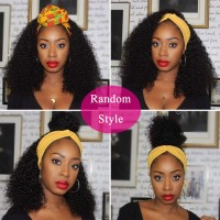 headband wig afro kinky curly natural color 100% human hair