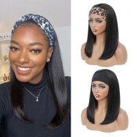 headband wig straight bob natural color 100% human hair