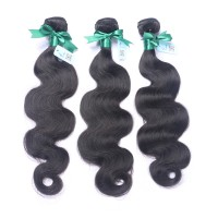 Brazilian virgin hair body wave  3 bundles natural black color free shipping