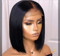 glueless closure wig  straight bob  lace wig bob style can be dye or curl
