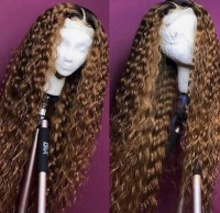 Water Wave Ombre 1B/Brown Ombre Color Lace Front Wig Remy Hair Brazilian Human Hair Wigs Pre Plucked