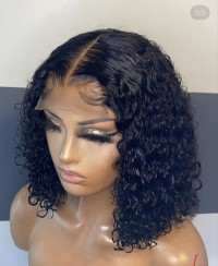 Glueless water wave 4×4 Closure wig,hair can  bleach , dye , straight and curl, no glue needed