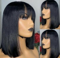 Glueless 4×4 Closure wig,straight with bang ,hair can  bleach , dye , straight and curl, no glue needed