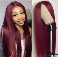 99J/Burgundy Red Human Hair Wigs Lace Front Wig