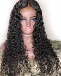 [Copy] Water Wave Natural Color Lace Front Wig Remy Hair Brazilian Human Hair Wigs Pre Plucked