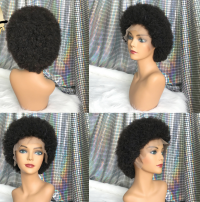 Afro Kinky curly lace front wig with elastic band, natural color human hair,can color, straighten or curl