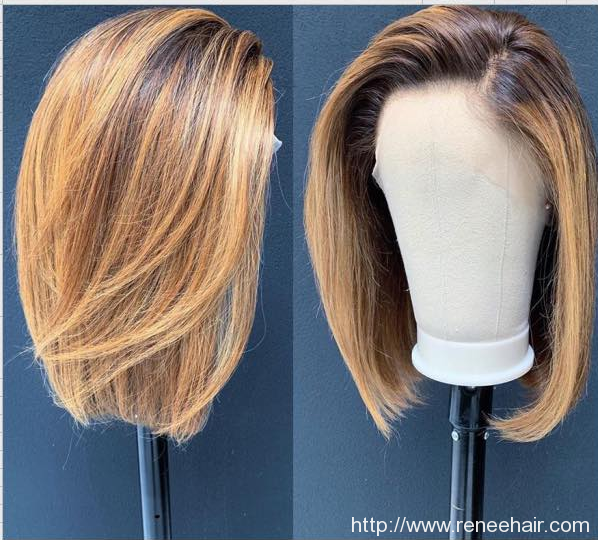 Straight Bob Ombre Blonde Color Lace Front Wig Remy Hair Brazilian Human Hair Wigs Pre Plucked