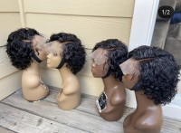 short curly lace front wig with elastic band, natural color human hair,can color, straighten or curl