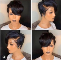 short lace front wig with elastic band, natural color human hair,can color, straighten or curl