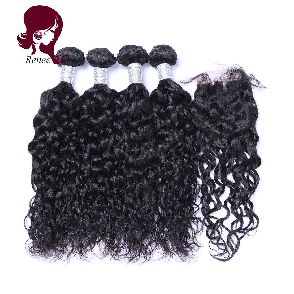 Barzilian virgin hair natural wave 4 bundles with closure natural black color free shipping
