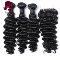 Barzilian virgin hair deep wave 3 bundles with closure natural black color free shipping