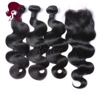 Barzilian virgin hair body wave 3 bundles with closure natural black color free shipping