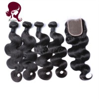 Barzilian virgin hair body wave 4 bundles with closure natural black color free shipping