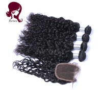 Barzilian virgin hair natural wave 3 bundles with closure natural black color free shipping