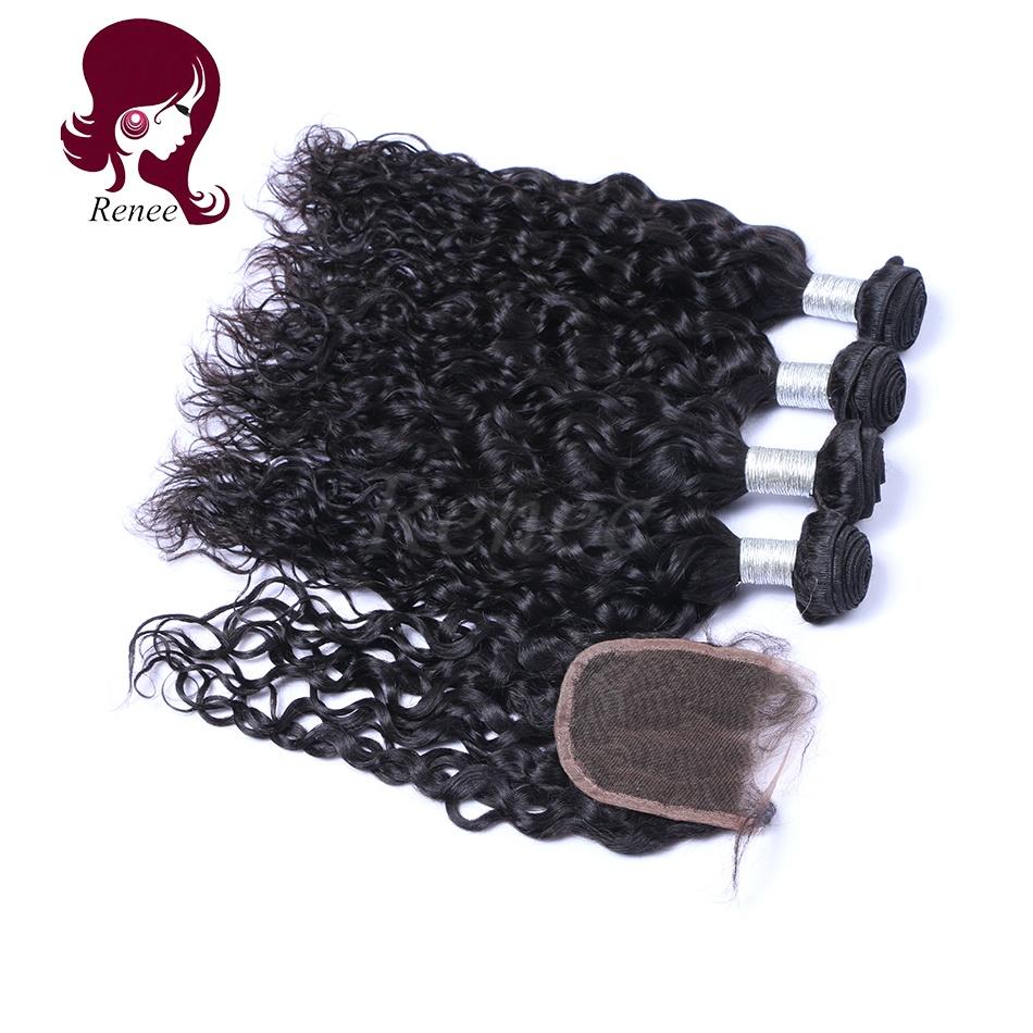 Barzilian virgin hair natural wave 3 bundles with closure natural black color free shipping