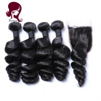 Barzilian virgin hair loose wave 4 bundles with closure natural black color free shipping