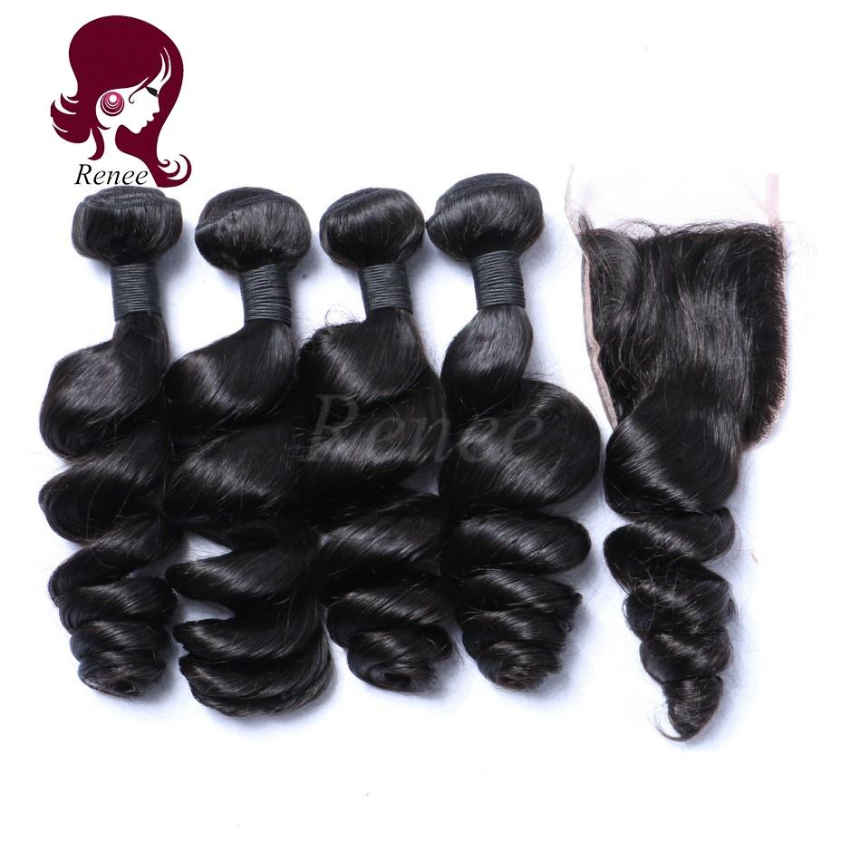Barzilian virgin hair loose wave 4 bundles with closure natural black color free shipping