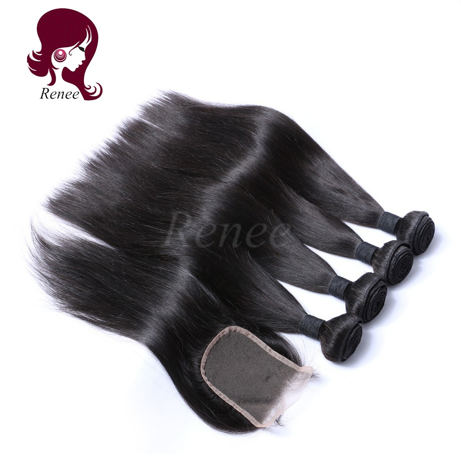 Barzilian virgin hair silky straight 4 bundles with closure natural black color free shipping