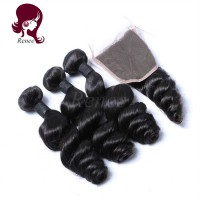 Barzilian virgin hair loose wave 3 bundles with closure natural black color free shipping