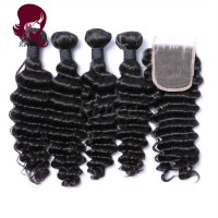 Barzilian virgin hair deep wave 4 bundles with closure natural black color free shipping