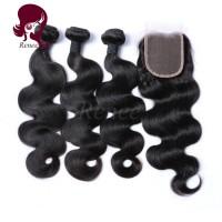 Barzilian virgin hair body wave 3 bundles with closure natural black color free shipping