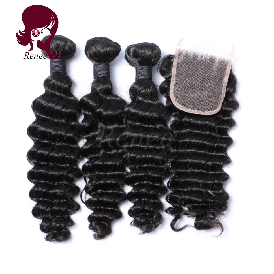 Barzilian virgin hair deep wave 3 bundles with closure natural black color free shipping