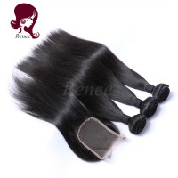 Barzilian virgin hair silky straight 3 bundles with closure natural black color free shipping