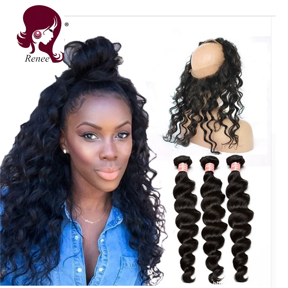 360 lace frontal with 2 bundles loose body Peruvian virgin hair