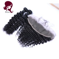 Peruvian virgin hair 2 bundles with lace frontal closure deep wave natural black color free shipping