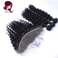 Peruvian virgin hair 3 bundles with lace frontal closure deep wave natural black color free shipping