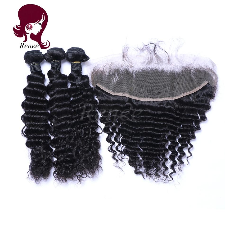 Peruvian virgin hair 3 bundles with lace frontal closure deep wave natural black color free shipping