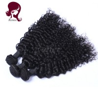 Brazilian virgin hair deep curly 3 bundles natural black color free shipping
