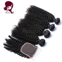 Barzilian virgin hair kinky curly 4 bundles with closure natural black color free shipping