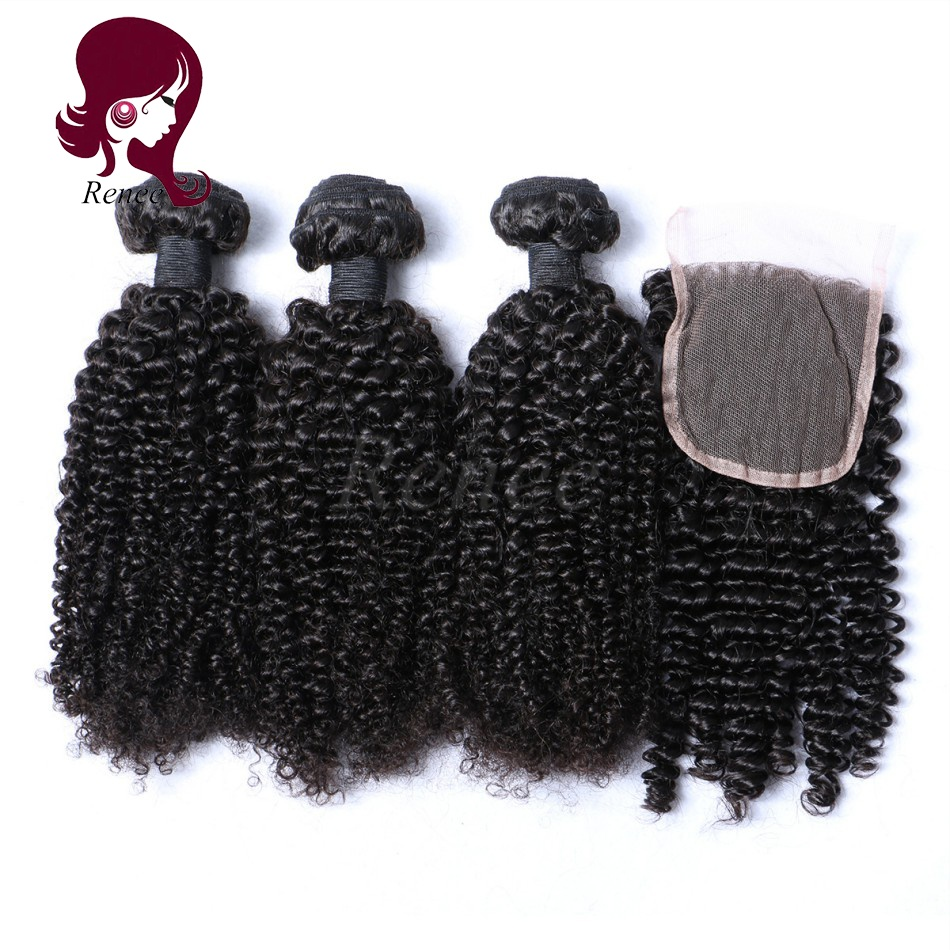 Barzilian virgin hair kinky curly 3 bundles with closure natural black color free shipping