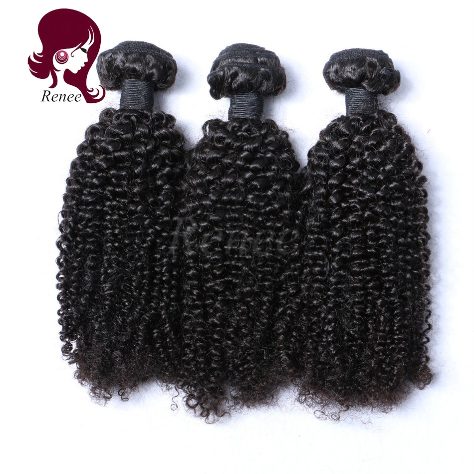 Malaysian virgin hair kinky curly 3 bundles natural black color free shipping