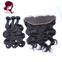 Barzilian virgin hair 3 bundles with lace frontal closure body wave natural black color free shipping