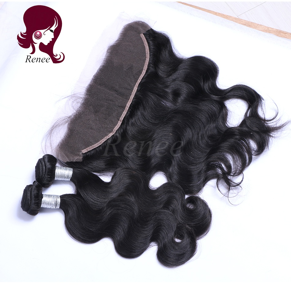 Barzilian virgin hair 2 bundles with lace frontal closure body wave natural black color free shipping