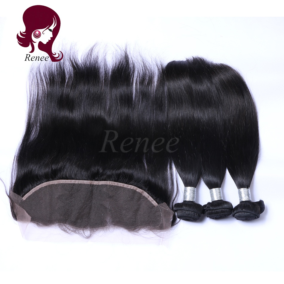 Barzilian virgin hair 3 bundles with lace frontal closure silky straight natural black color free shipping