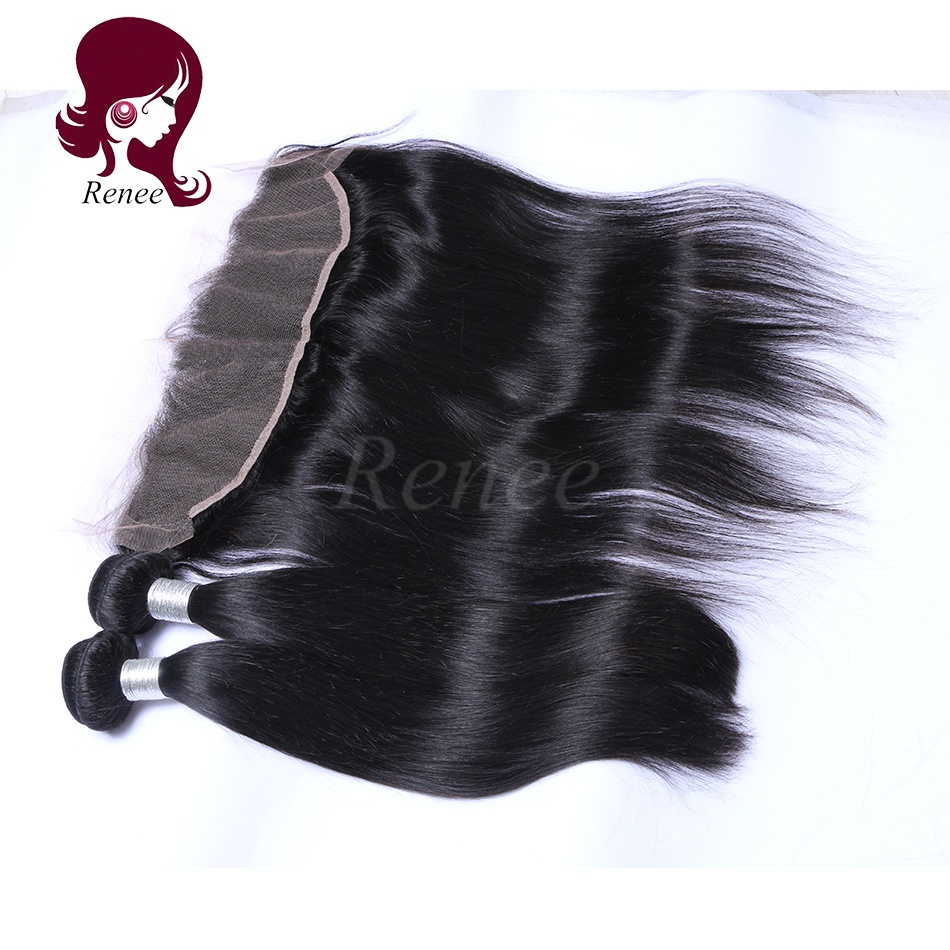Barzilian virgin hair 2 bundles with lace frontal closure silky straight natural black color free shipping
