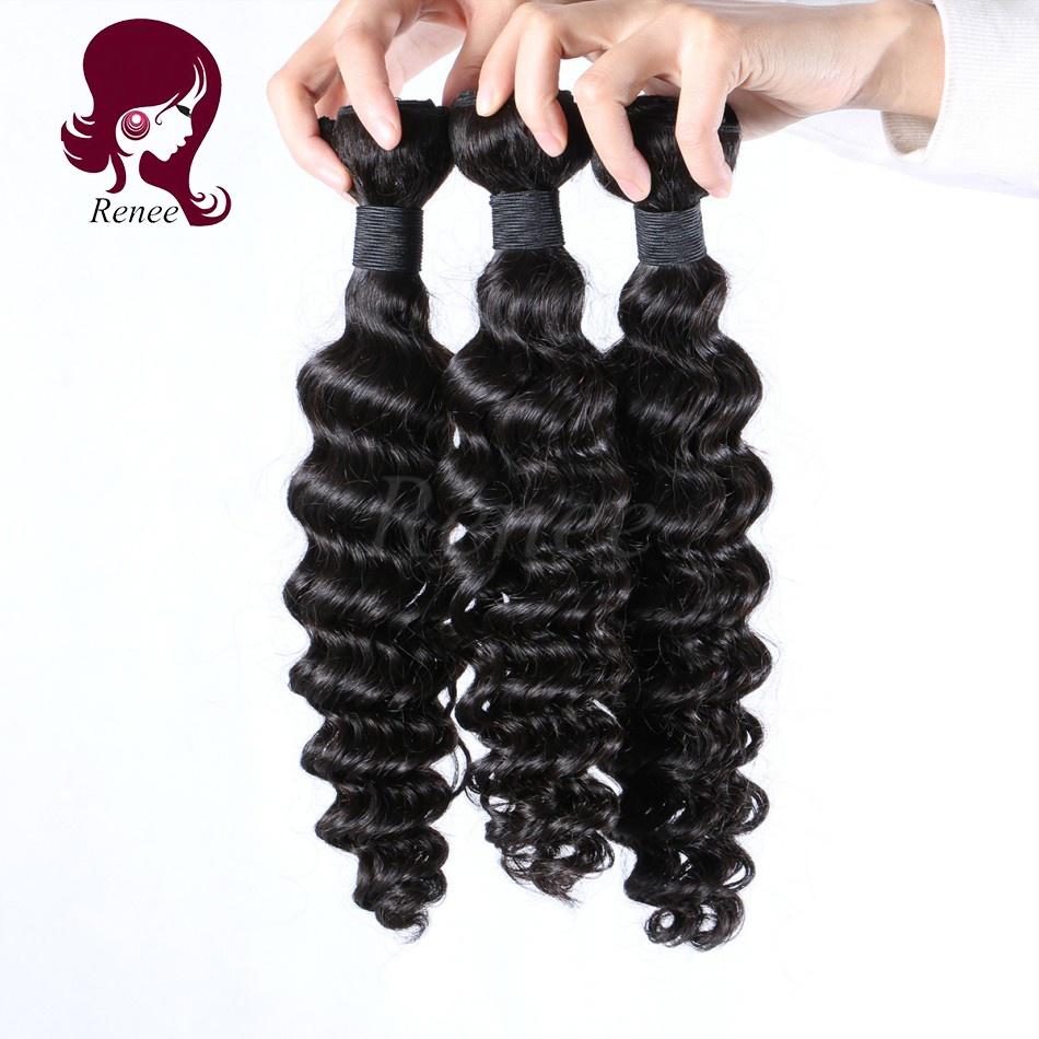Malaysian virgin hair deep wave 3 bundles natural black color free shipping