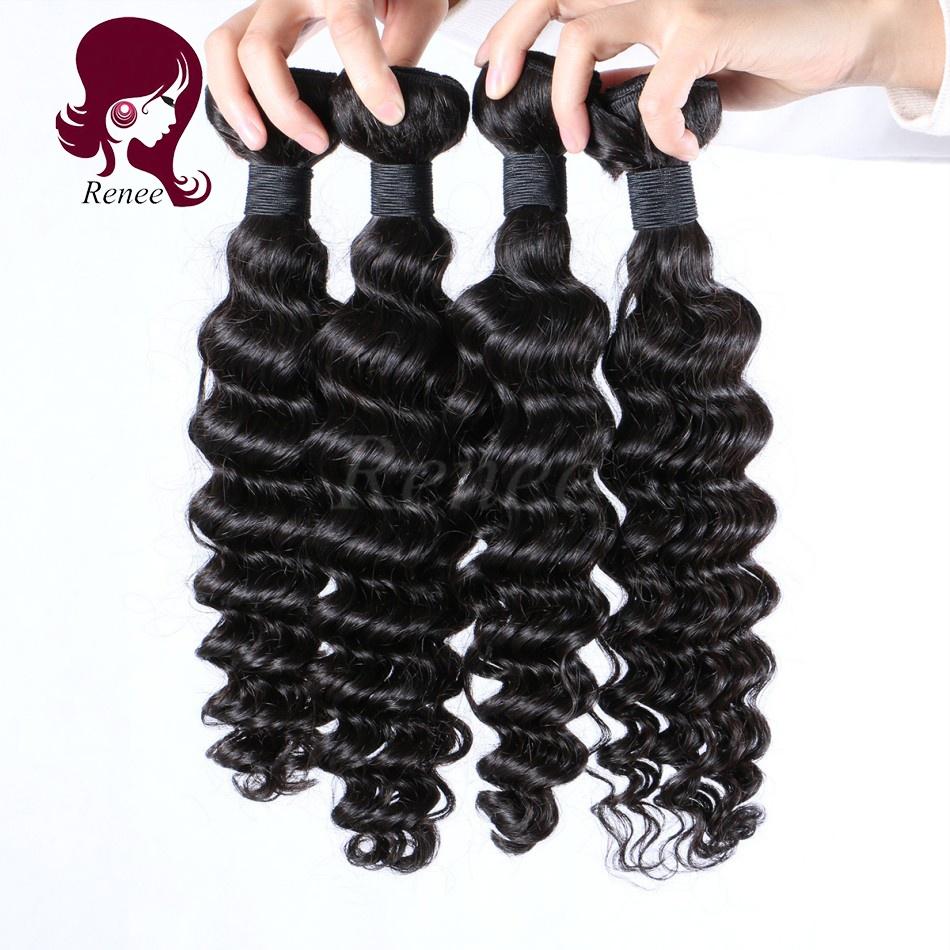 Malaysian virgin hair deep waves 4 bundles natural black color free shipping