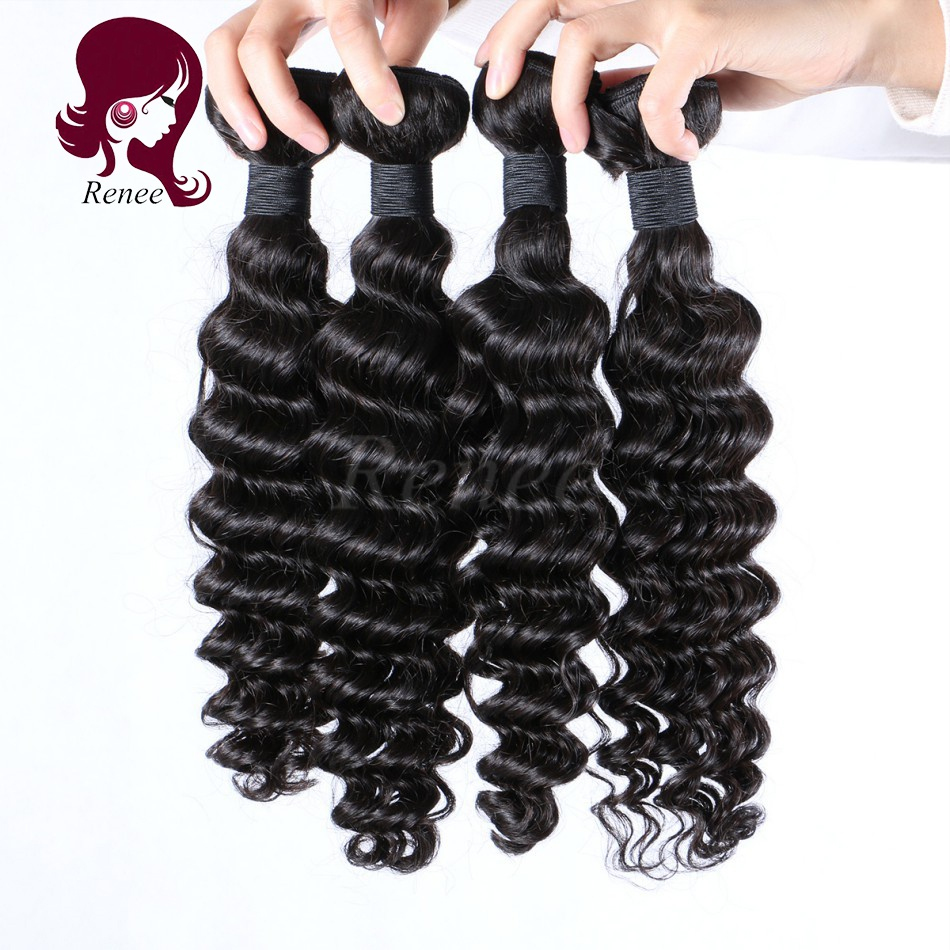 Peruvian virgin hair deep wave 4 bundles natural black color free shipping