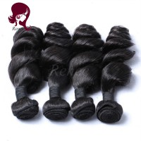 Peruvian virgin hair loose wave 4 bundles natural black color free shipping