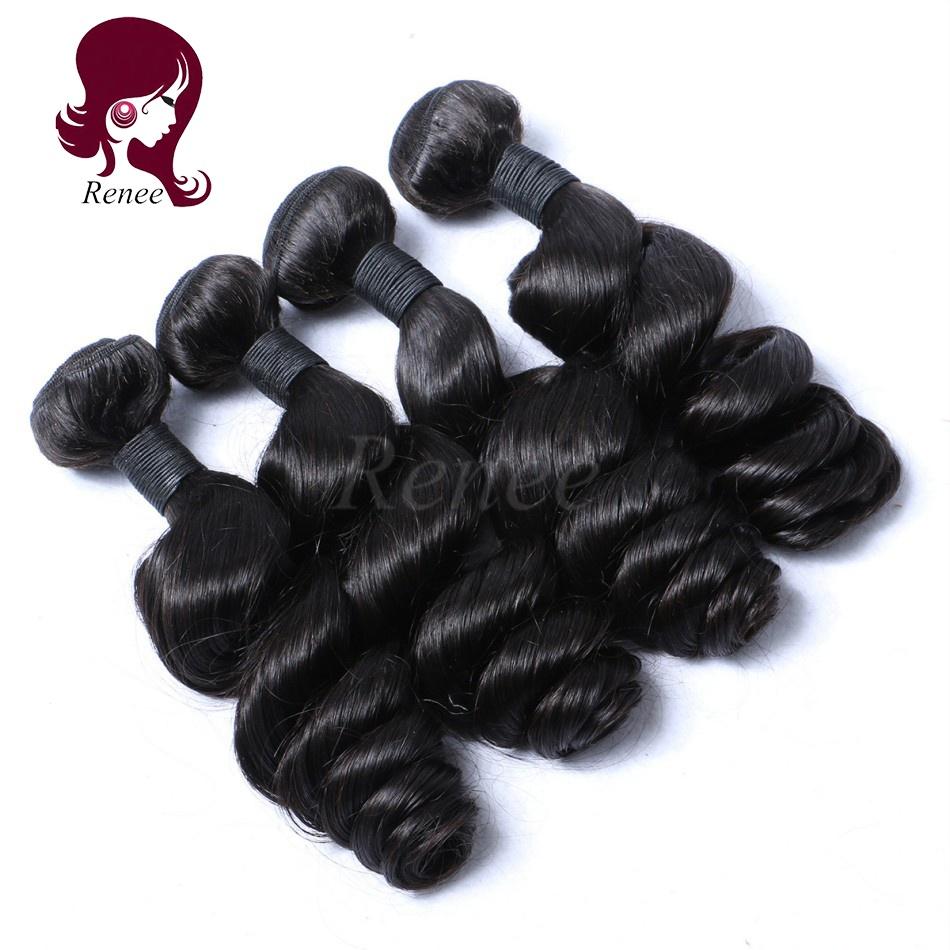 Peruvian virgin hair loose wave 4 bundles natural black color free shipping